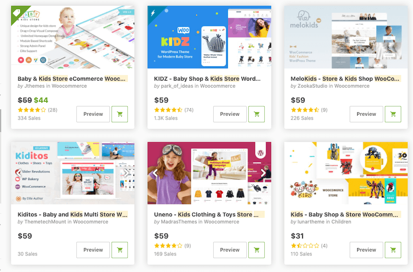 kids and baby woocommerce themes on ThemeForest