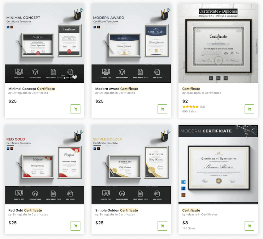 You can find thousands of the best certificate design templates on GraphicRiver.