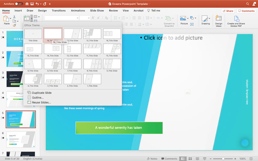 Adding new slides to the Oceans PowerPoint template