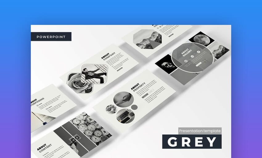 grey minimal powerpoint template