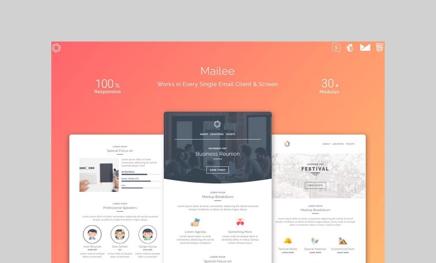 Mailee Responsive Multipurpose Email Template by avagon