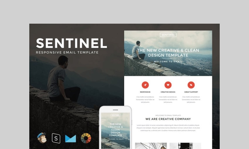 Sentinel - Responsive E-mail + StampReady Builder by LEVELII
