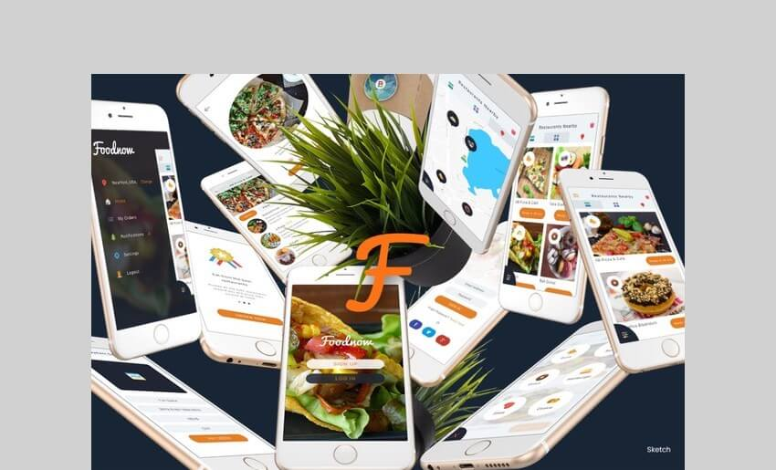 Foodnow - Sketch Mobile UI Kit by angelbi88
