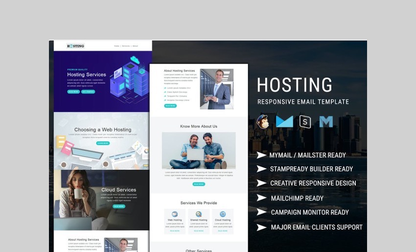 Hosting multipurpose and real estate email template