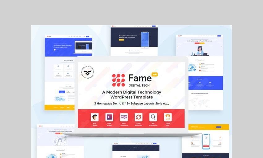 Fame digital technology and service WordPress theme
