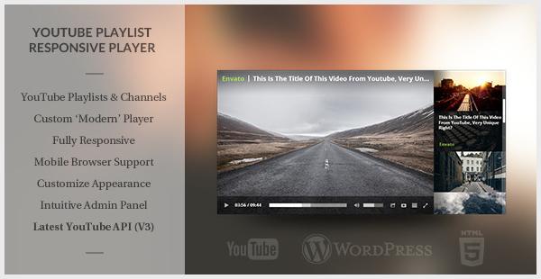 Modern HTML5 Responsive YouTube Playlist Player