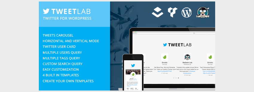 Tweetlab - Twitter slider  Usercard for WordPress