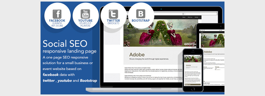 Social SEO Responsive Landing Page Facebook