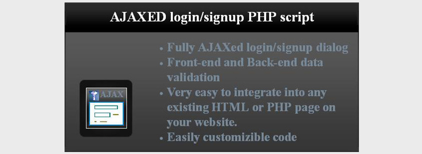 AJAXed LoginSignup PHP Script