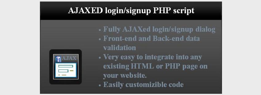 AJAXed LoginSignup PHP Script