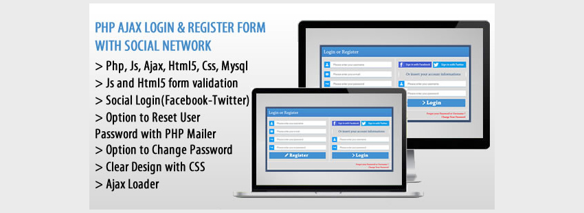 PHP AJAX Login  Register Form with Social Network