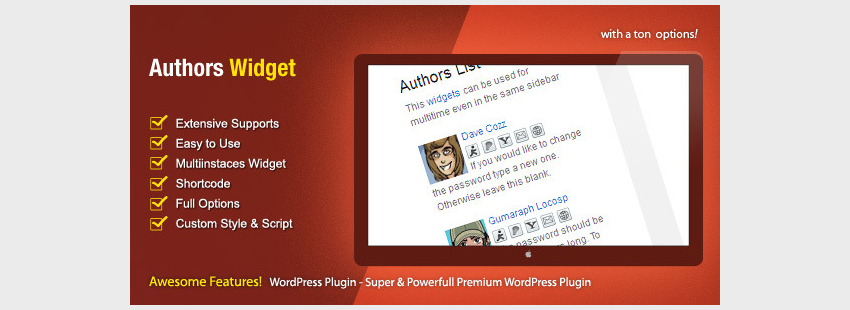 Authors Widget - WordPress Premium Plugin