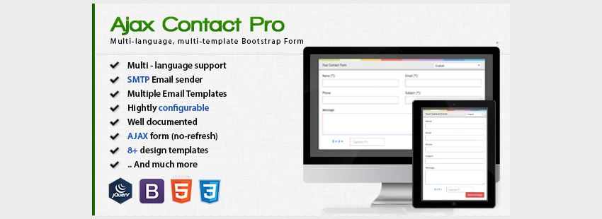 Ajax Contact Pro - Multi-language HTML5 Bootstrap Contact Form