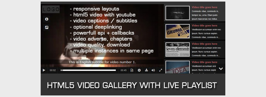 HTML5 Video Gallery with Live Playlist