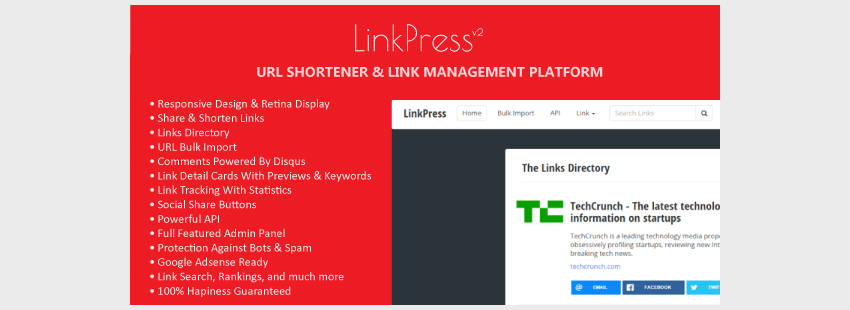 LinkPress - URL Shortener Links Directory  Link Management Platform