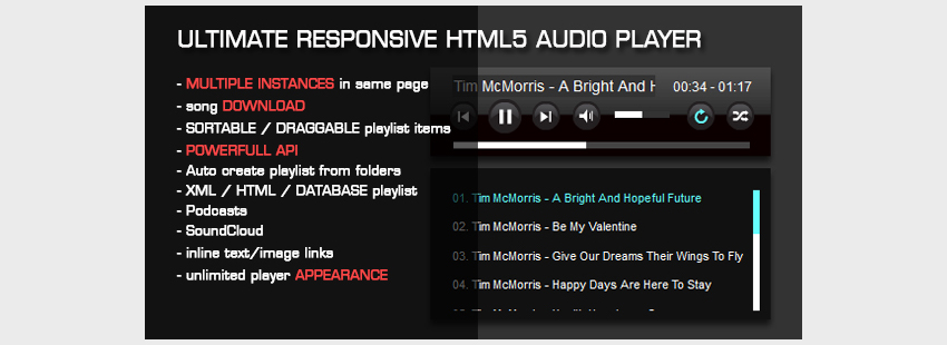5+ Best Free HTML5 Audio Players for Website - DesignMaz