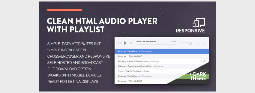 Clean HTML Audio Player with Playlist
