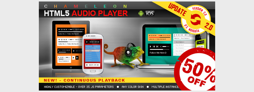 Chameleon HTML5 Audio Player WithWithout Playlist
