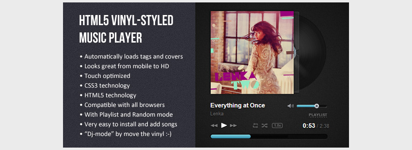 HTML5 Vinyl-styled Music Player