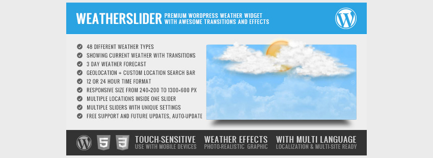 WeatherSlider Premium WordPress Weather Widget
