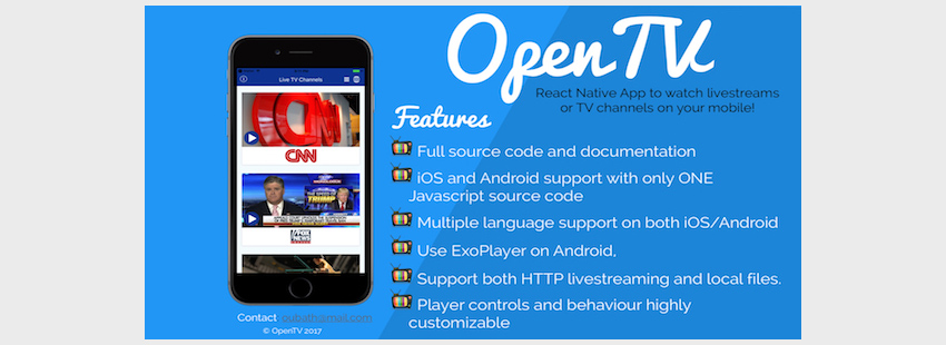 OpenTV - React Native App AndroidiOS for TV Channels and Livestreams