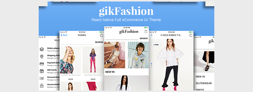 gikFashion - React Native Full eCommerce UI Theme