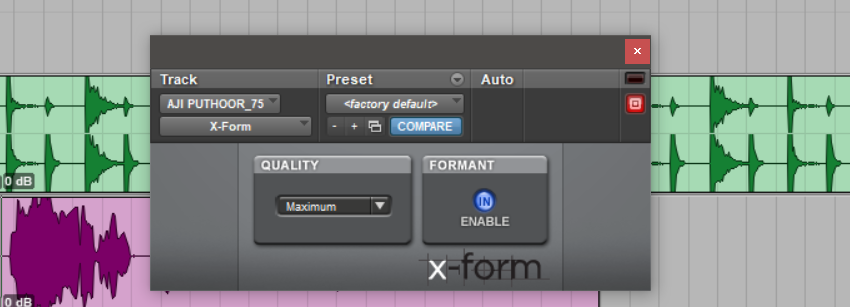 Enable the Formant option