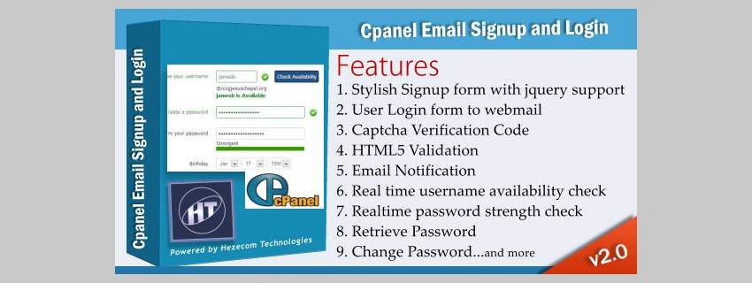 cPanel Email SIgnup et connexion