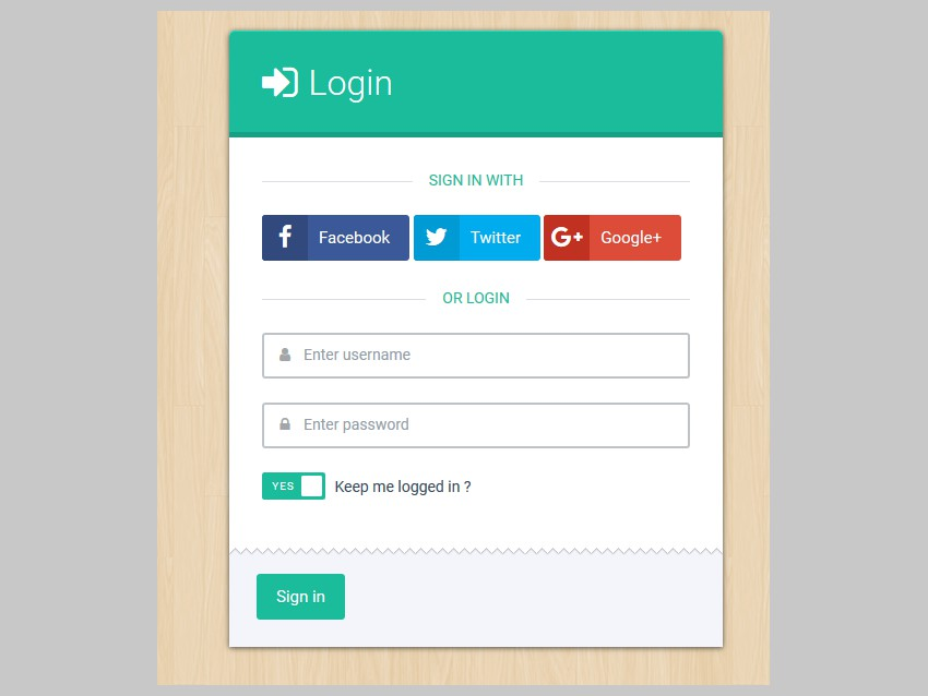 Login Form Green