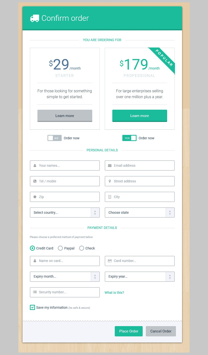 Order Form Green Theme