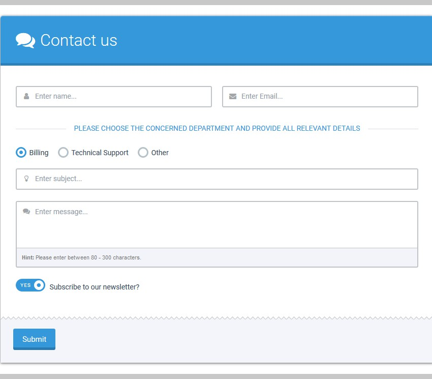 Example Contact Us Form