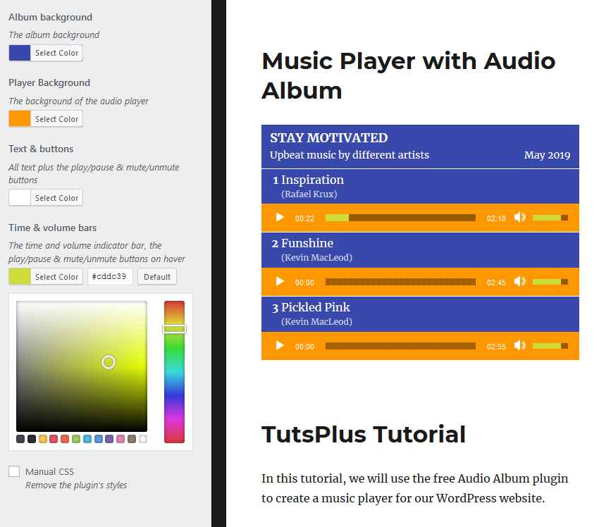 Audio Album Customization Page