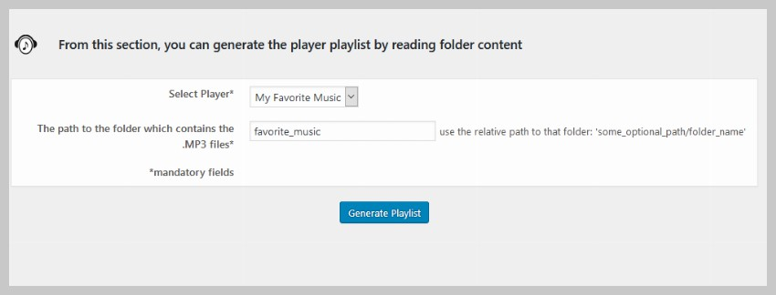 Specify a folder for automatic playlist creation