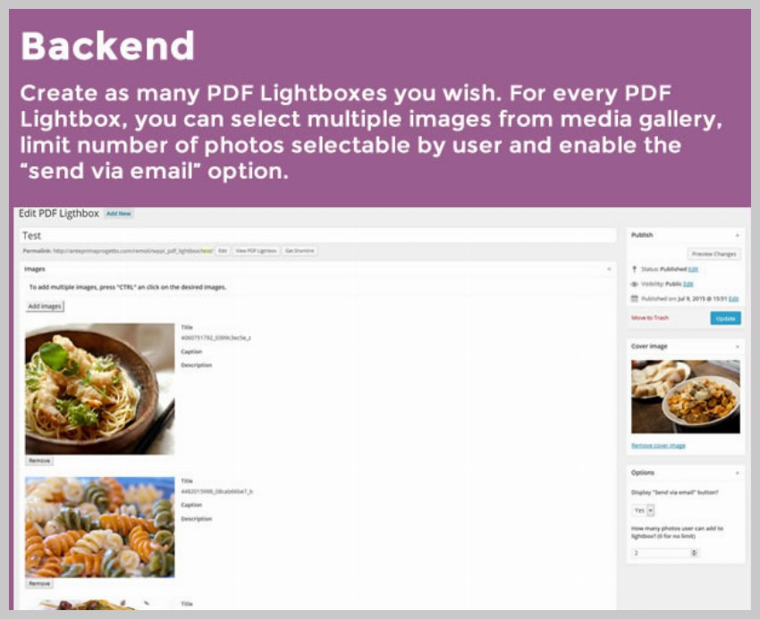 WordPress Images PDF Lightbox back-end configuration
