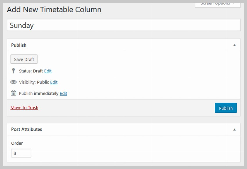 Timetable Columns
