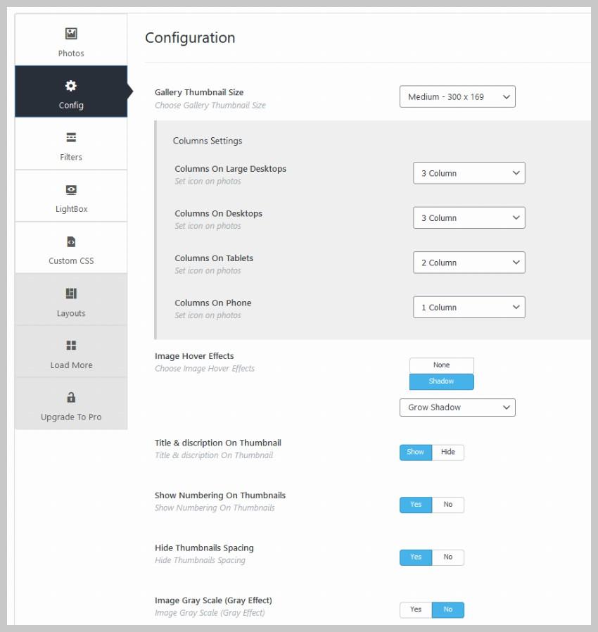 Portfolio Gallery Configuration Options