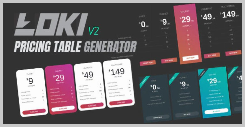 Loki Pricing Table Generator