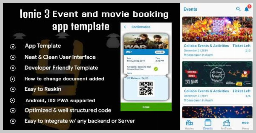 Ionic 3 Event and Movie Ticket Booking App