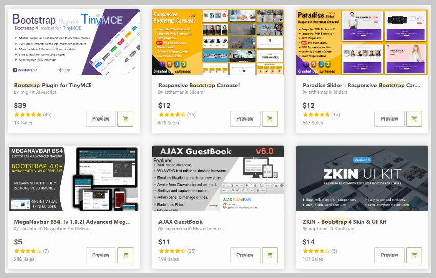 Bootstrap 4 Plugins on CodeCanyon