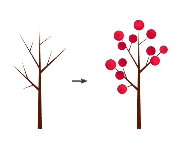 placing berries on the branch
