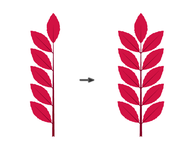 placing pink leaves on the branch