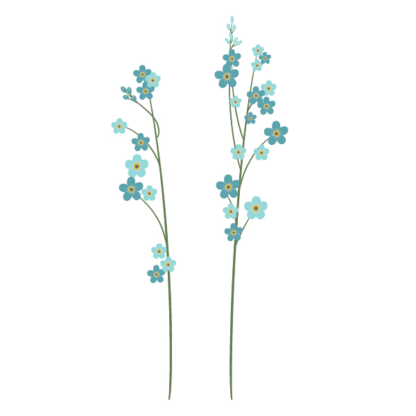 placing forget-me-nots on the stalks