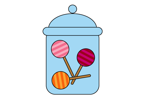 placing the lollipops in the jar