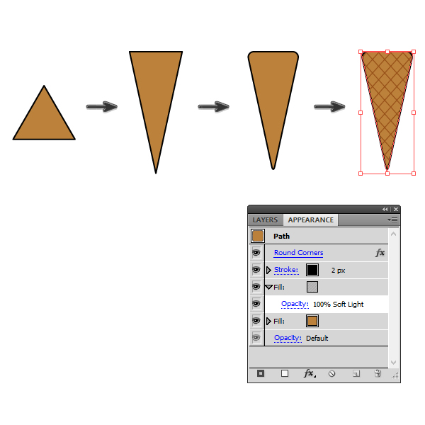 creating the cone of the ice cream