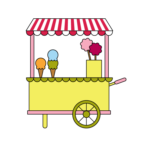 placing all the items on the candy cart