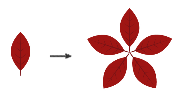 combining together poinsettia leaves
