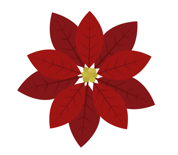 creating middle part of the poinsettia