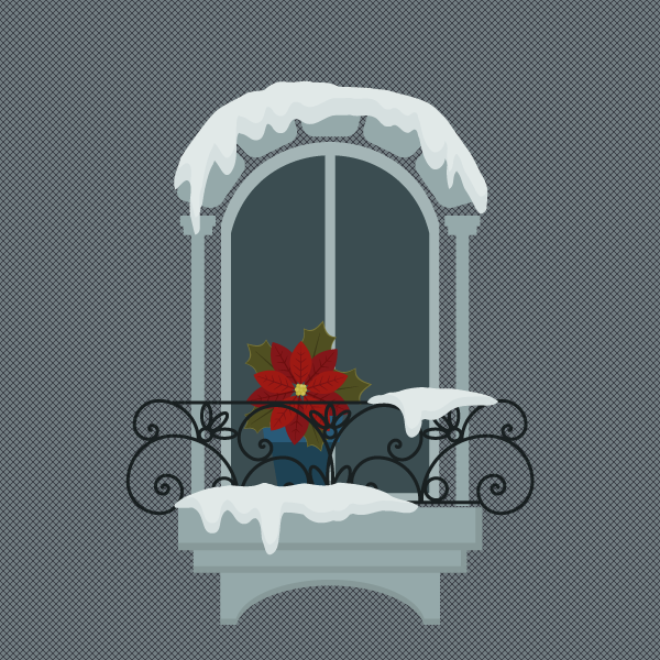 placing the snowy window on the background
