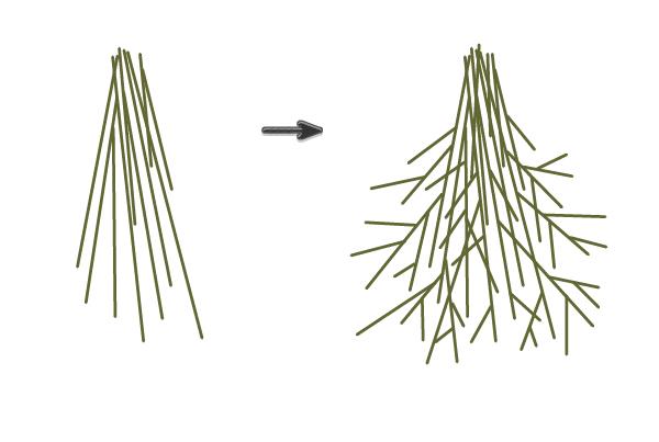 creating the mistletoe stalks