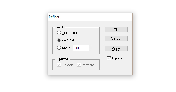 options of the Reflect dialogue window